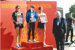 Heather Hanscom of Alexandria, Virginia, wins the 2003 Marine Corps Marathon in 2:37:59. (Courtesy Marine Corps Marathon)