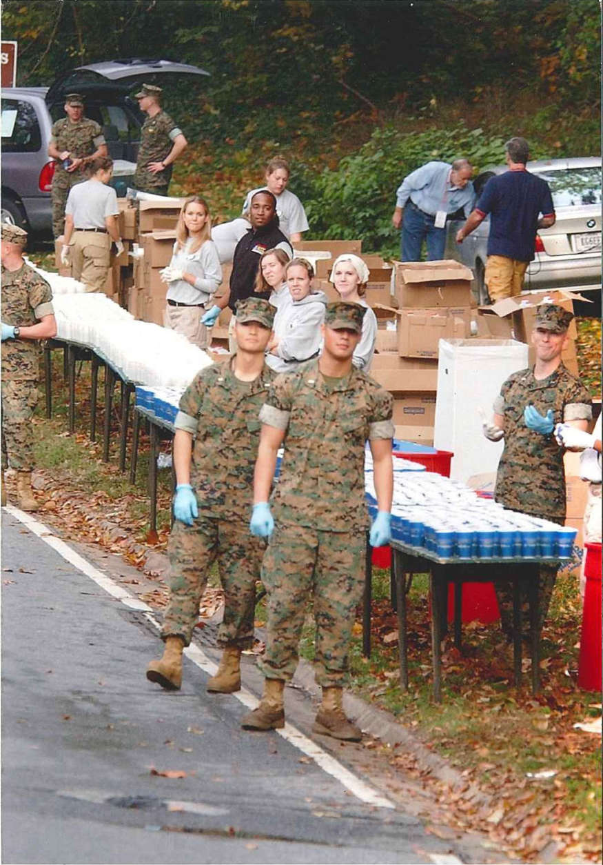 Marines at water point at Rock Creek Parkway. Year not known. (Courtesy Marine Corps Marathon)