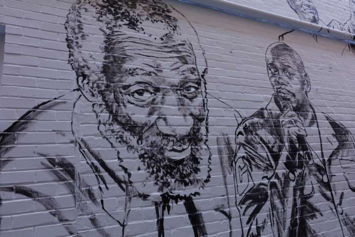 Dick Gregory (left) And Dave Chappelle Are Also Among The New Faces On The  Benu0027s Chili Bowl Mural. (WTOP/Kate Ryan)