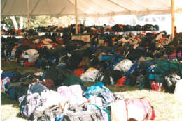 The baggage tent for Marine Corps Marathon participants. Year not known. (Courtesy Marine Corps Marathon)