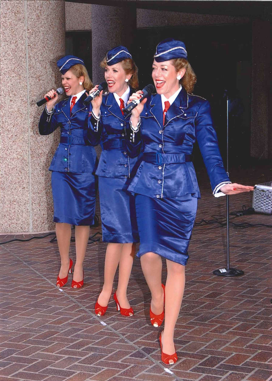The Victory Belles perform in 2003. The group often perform at Marine Corps Marathon events. (Courtesy Marine Corps Marathon)