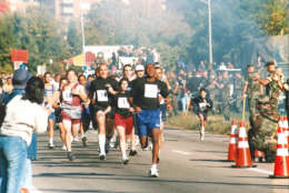 A group of runners in the Marine Corps Marathon. Year not known. (Courtesy Marine Corps Marathon)