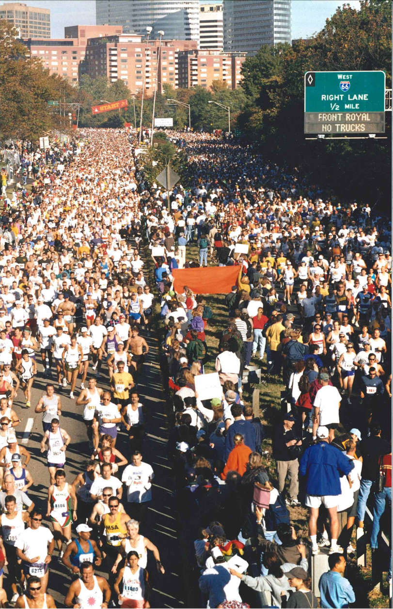 The Marine Corps Marathon start in 1996. (Courtesy Marine Corps Marathon)