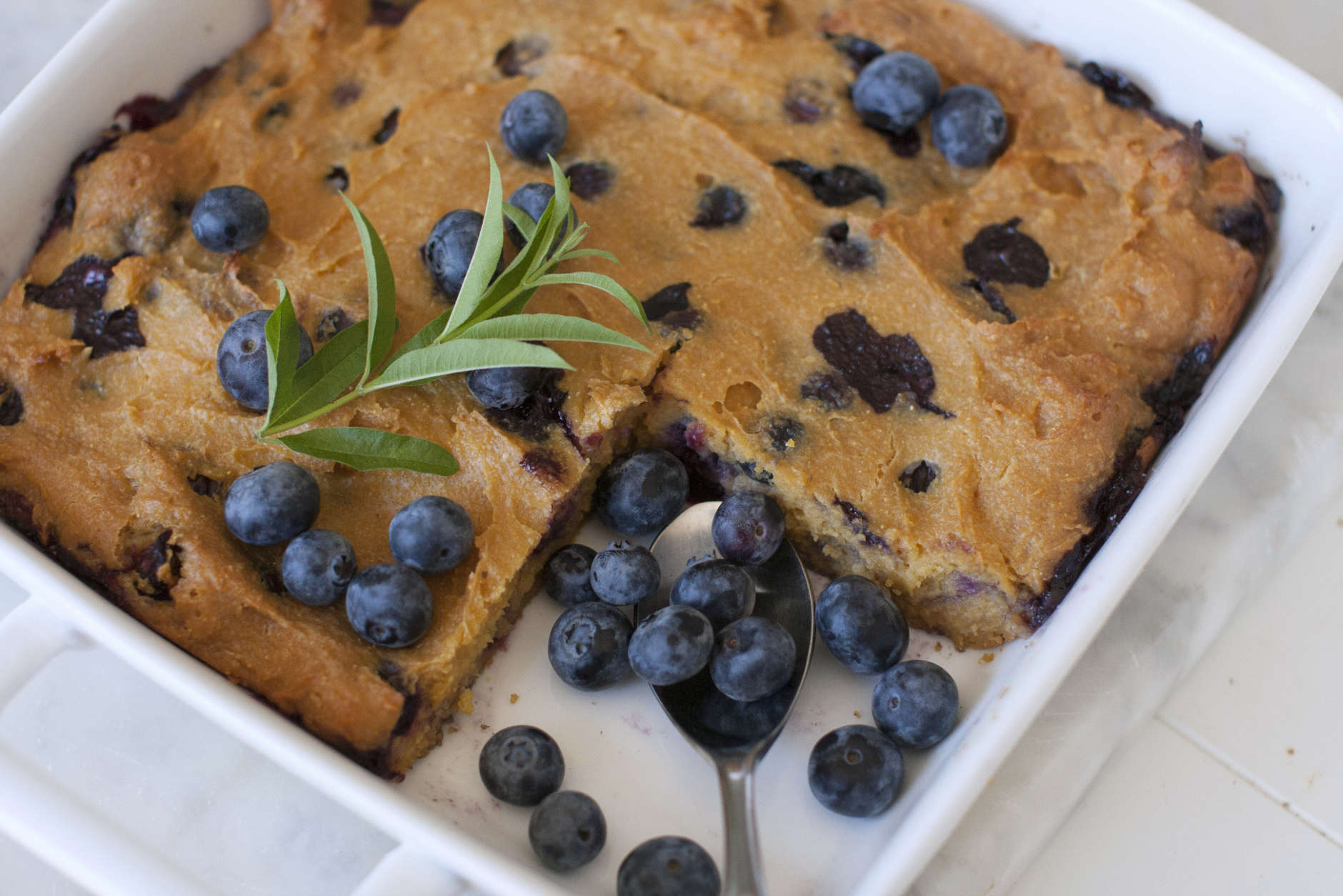 This April 21, 2014, photo shows blueberry sorghum spoon bread in Concord, N.H. (AP Photo/Matthew Mead)