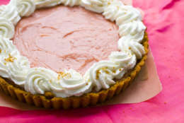 This July 18, 2011 photo shows a watermelon pudding tart in Concord, N.H. Serve this tart with plenty of whipped cream.     (AP Photo/Matthew Mead)