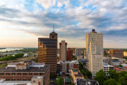 View of Memphis Downtown from the rooftop of Madison Hotel in Memphis downtown.