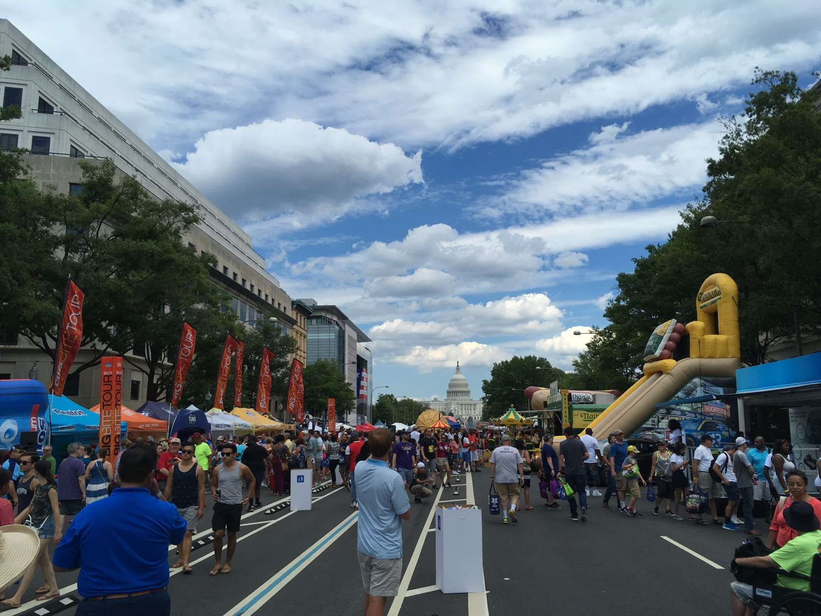 The view down Pennsylvania Avenue looking toward the Capitol during the Giant National Capital BBQ Battle. (WTOP/Noah Frank)