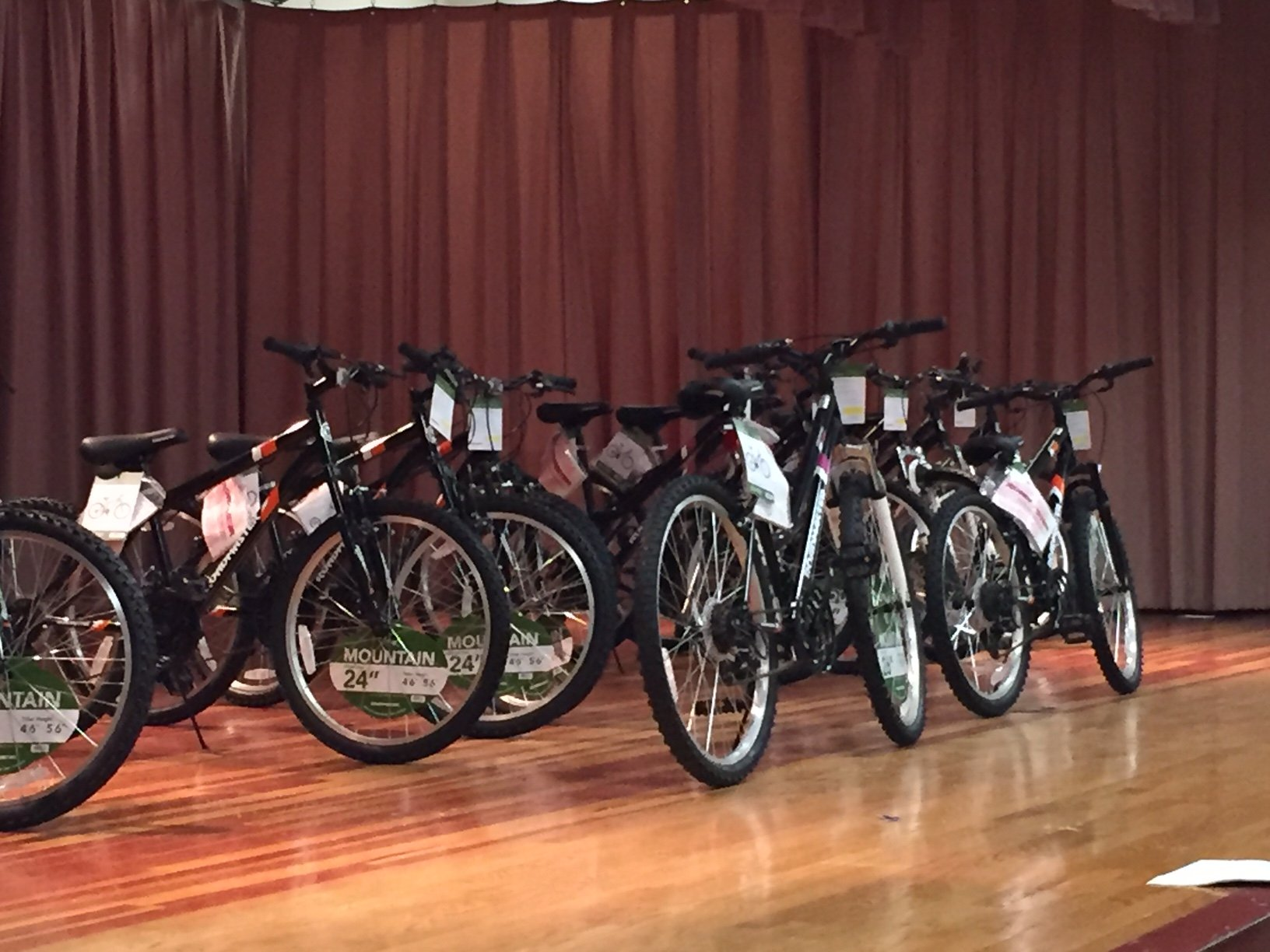 Seventh-graders with perfect attendance at Dwight D. Eisenhower Middle School, in Laurel, got free bikes Thursday. (WTOP/Dennis Foley)