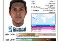 A DNA analysis of blood left at the crime scene suggests the suspect may have looked like this at age 22. (Courtesy Montgomery County Police Department)