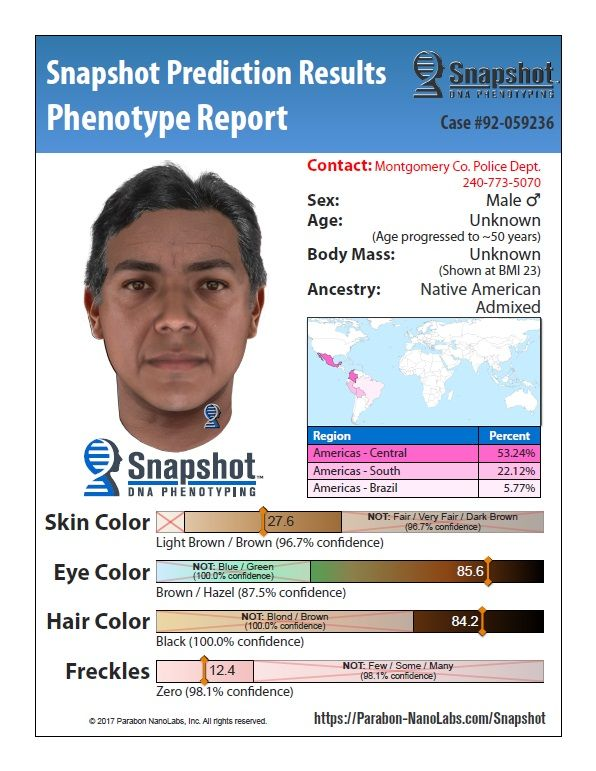 An artist's age progression of the DNA phenotyping composite shows the suspect's estimated appearance at age 50. (Courtesy Montgomery County Police Department)