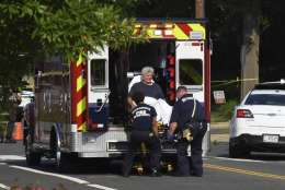 Rep. Roger Williams, R-Texas is placed into an ambulance at the scene of a shooting at a baseball field in Alexandria, Va., Wednesday, June 14, 2017. Members of Congress were practicing for a game when a gunman started shooting. (AP Photo/Kevin S. Vineys)