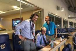 From left: WTOP's Noah Frank, Dave McConnell and George Wallace called the game. (Courtesy Noah Frank)
