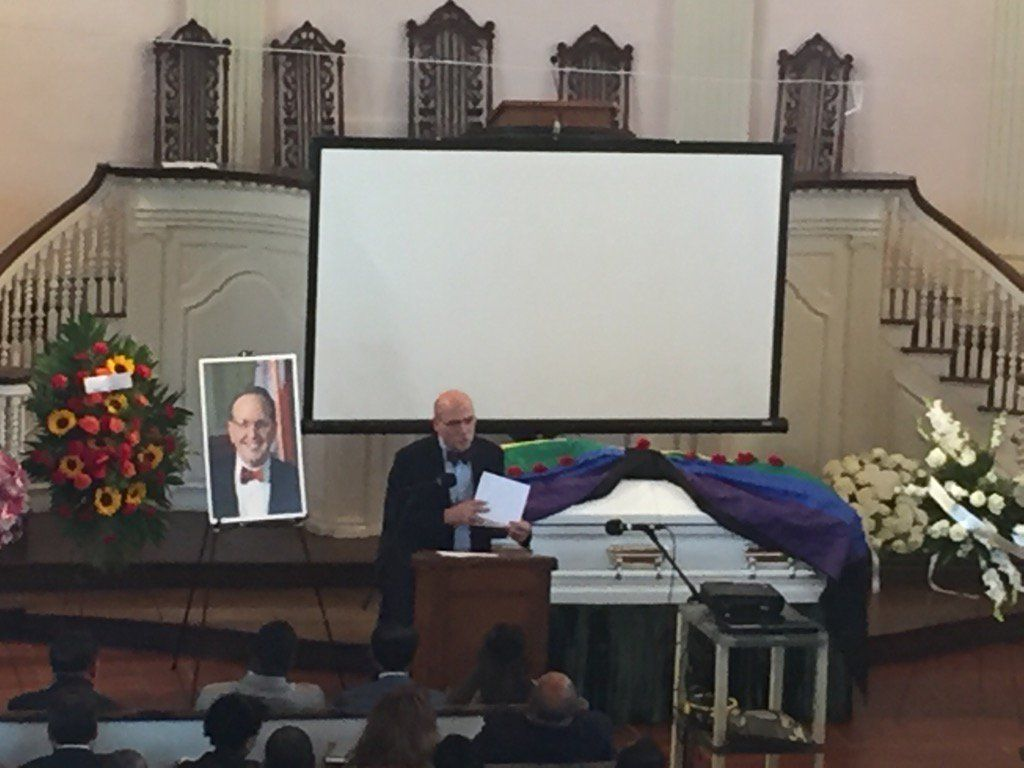 D.C. Council Chair Phil Mendelson tells stories at Jim Graham's funeral on Saturday. (WTOP/John Domen)
