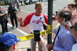 ALEXANDRIA, VA - JUNE 14:  U.S. Sen. Jeff Flake (R-AZ) briefs members of the media near Eugene Simpson Stadium Park where a shooting took place on June 14, 2017 in Alexandria, Virginia. U.S. House Majority Whip Rep. Steve Scalise (R-LA) and multiple congressional aides were shot by a gunman during a Republican baseball practice.  (Photo by Alex Wong/Getty Images)