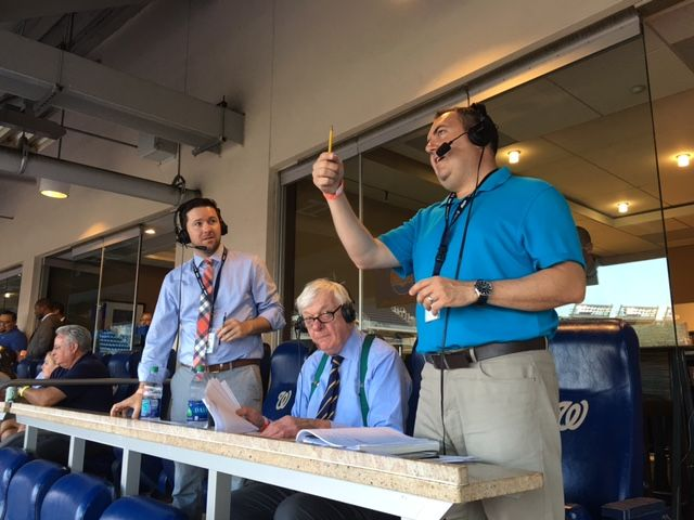 From left: WTOP's Noah Frank, Dave McConnell and George Wallace called the game. (WTOP/Sue Rushkowski)