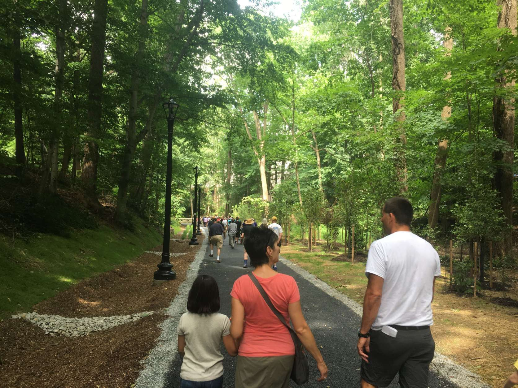 Situated next to a stream, the newly landscaped and tree lined path features a .07-mile trail that goes through Woodley Park, Cleveland Park and Mount Pleasant and ends at Rock Creek Park.  (WTOP/Mike Murillo)