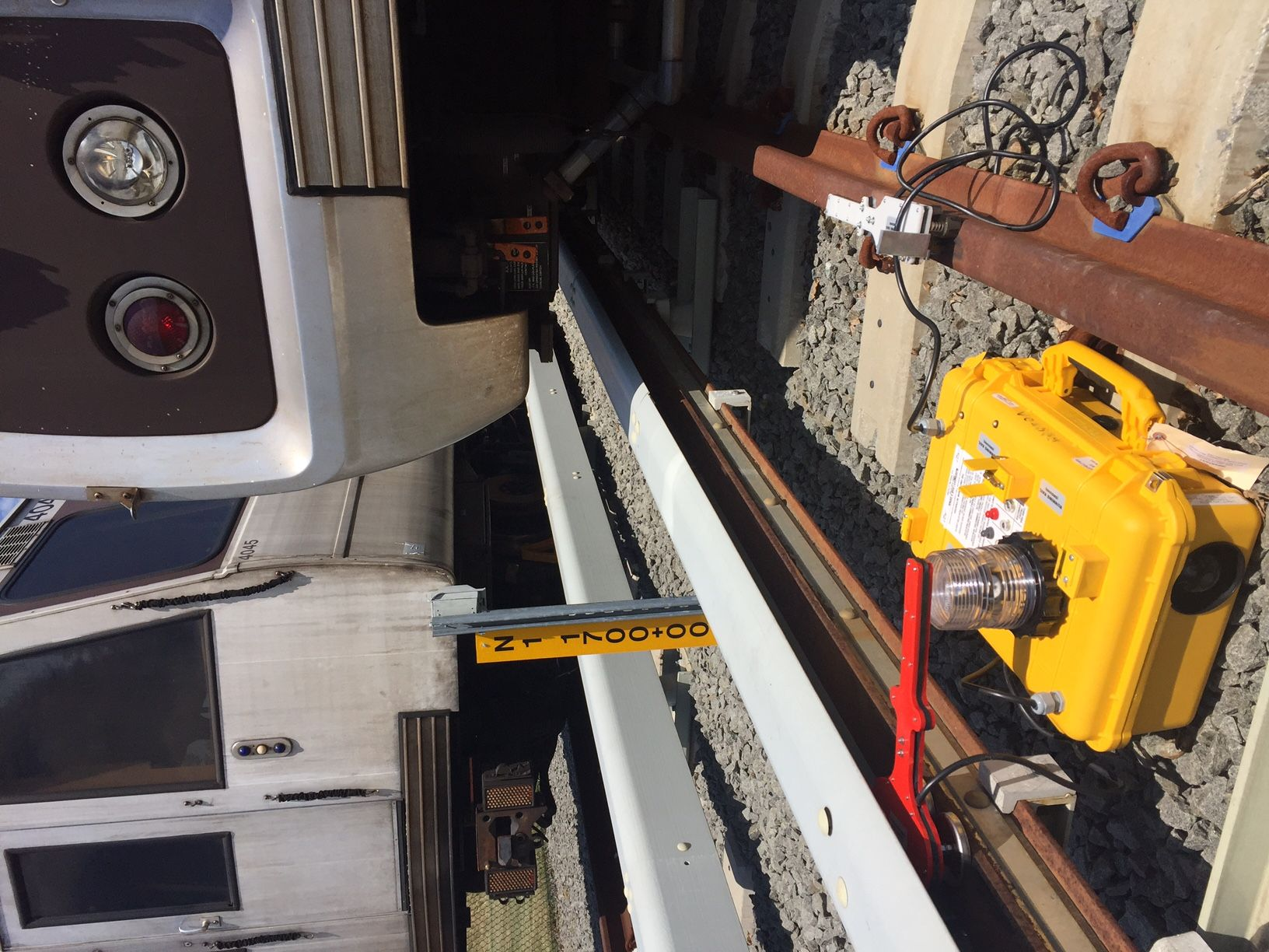 Rescue tools include new hydraulic jacks capable of lifting rail cars. The yellow boxes are for testing whether there is power to the third rail. (WTOP/John Aaron)