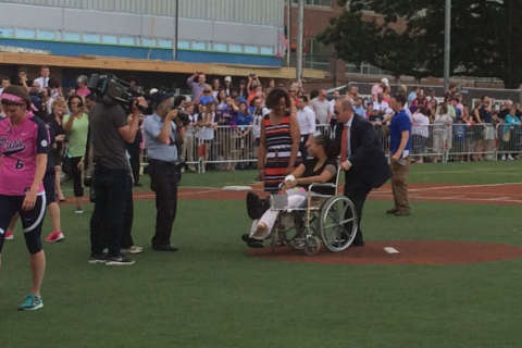 Wounded Capitol Police officer takes to the field for special 1st pitch