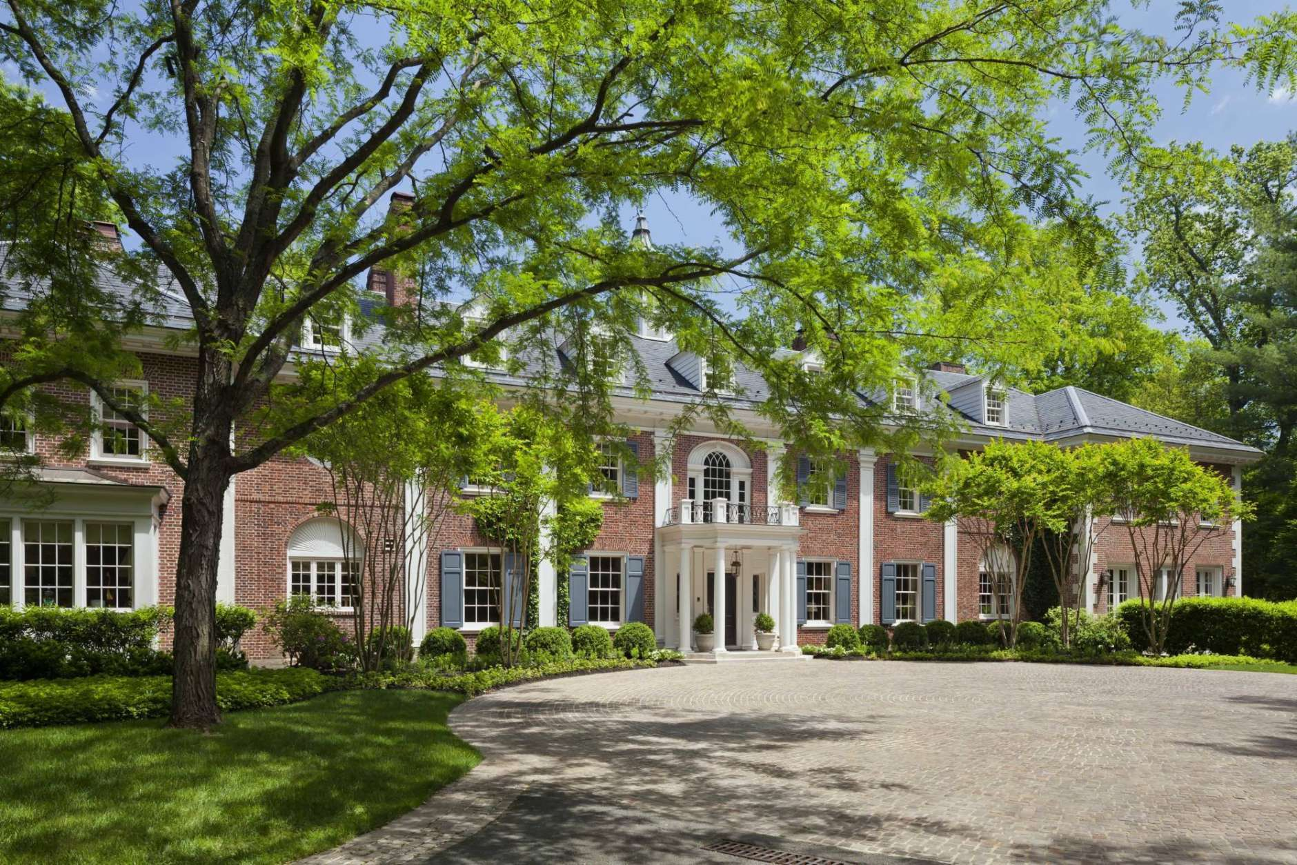 In this May 10, 2017, photo provided by TTR Sotheby's International Realty, the McLean, Va., childhood home of Jacqueline Kennedy Onassis is shown. The home was put up for sale by its current owners for $49.5 million. (Gordon Beall/TTR Sotheby's International Realty via AP)
