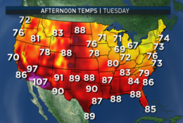 These graphics show the output from the GFS computer model for afternoon temperatures across the country. Over the course of the workweek, the cooler-than-average temperatures in the Northeast and Mid-Atlantic move out. Cooler weather returns to the Northwest and some of the hot weather of the West will shift into the D.C. area. (Data: Environmental Modeling Center, NOAA |  Graphics: Storm Team 4)