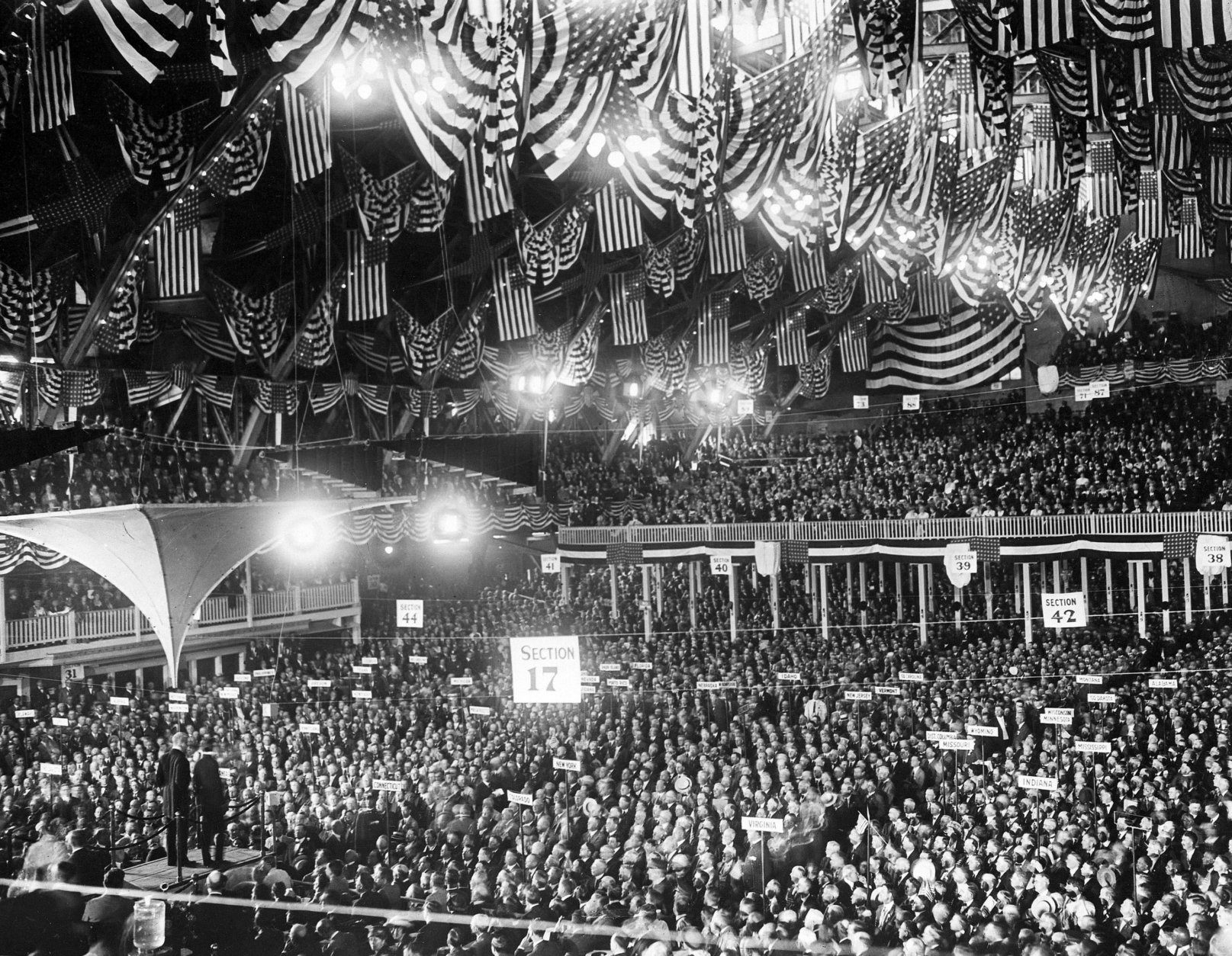 This is a general view during the opening of the Republican National Convention in the Coliseum in Chicago, Ill., June 8, 1920.  (AP Photo)