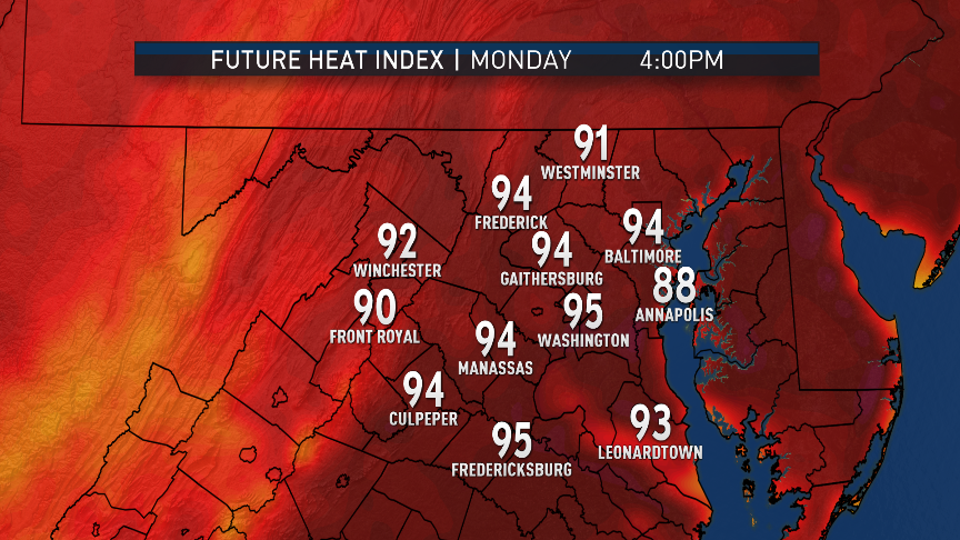 The model (RPM) likely is under-doing the amount of atmospheric moisture there will be, so the heat index values aren't that much different than what thermometers will show. Still, this is way hot for June. (Data: The Weather Company. Graphics Storm Team4)