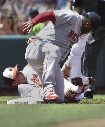 2a151ddef Red Sox Orioles Baseball 76297 Baltimore Orioles  Joey Rickard steals third  as Boston Red Sox s Pablo Sandoval applies the late tag in the first inning  of a ...