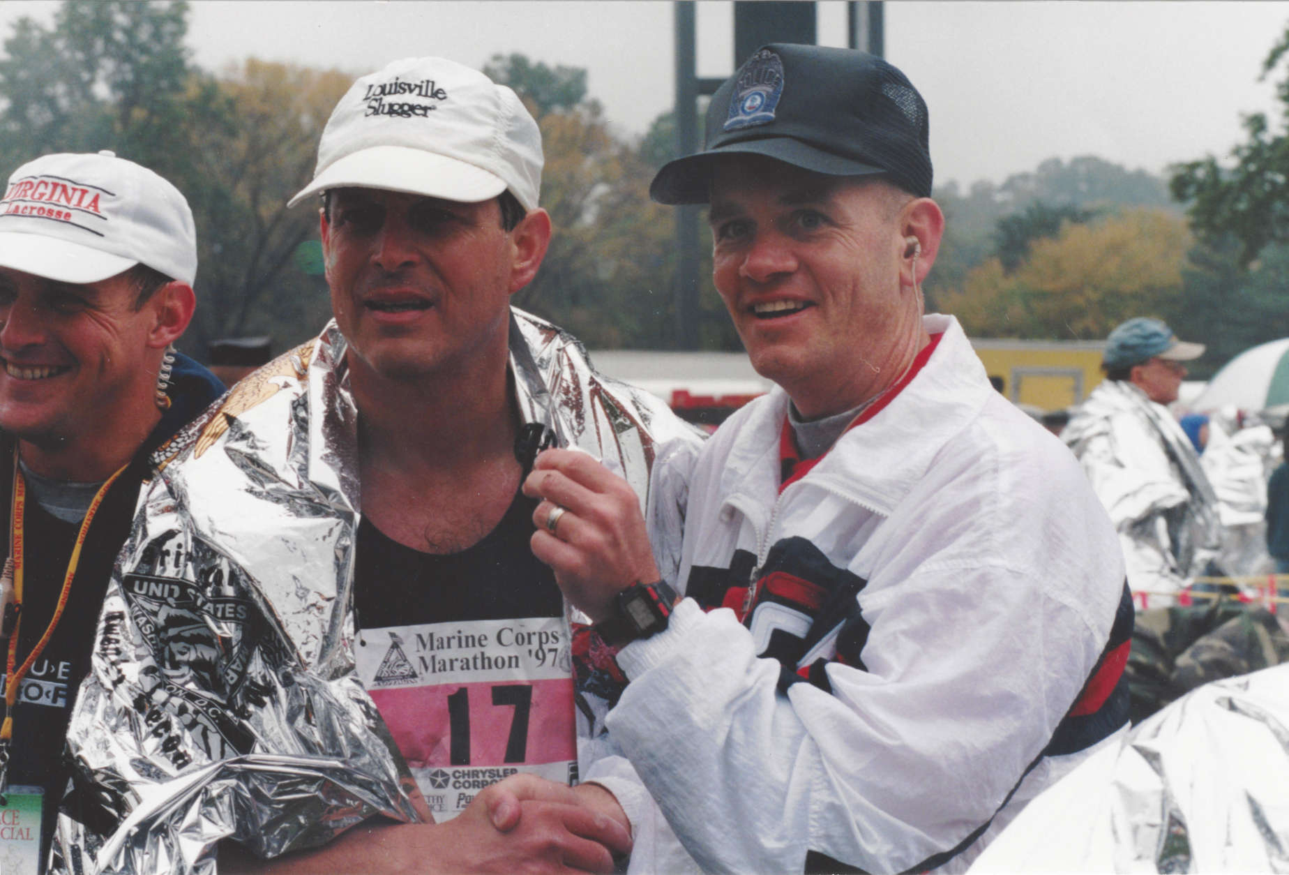 Then Vice President Al Gore poses with Race Director Rick Nealis after Gore finished the 1997 Marine Corps Marathon. (Courtesy Marine Corps Marathon)