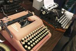 "In this April 23, 2017 photo, vintage typewriters are on display at a ""type-in"" in Albuquerque, N.M. ""Type-ins"" are social gatherings in public places where typewriter fans test different vintage machines. The vintage typewriter is making a comeback with a new generation of fans gravitating to machines that once gathered dust in attics and basements across the country. (AP Photo/Russell Contreras)"