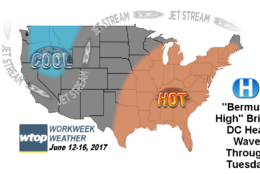 These graphics show computer projected Heat Index values for Monday and Tuesday afternoon. Remember, the Heat Index is a temperature adjustment based on humidity. (WTOP/Storm Team4)