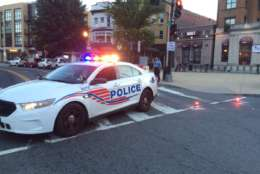 """Around 9 p.m., a pickup truck traveling at """"a high rate of speed"""" struck the officers and the District Department of Transportation worker, D.C. police Chief Peter Newsham said. (WTOP/Nick Iannelli)"""