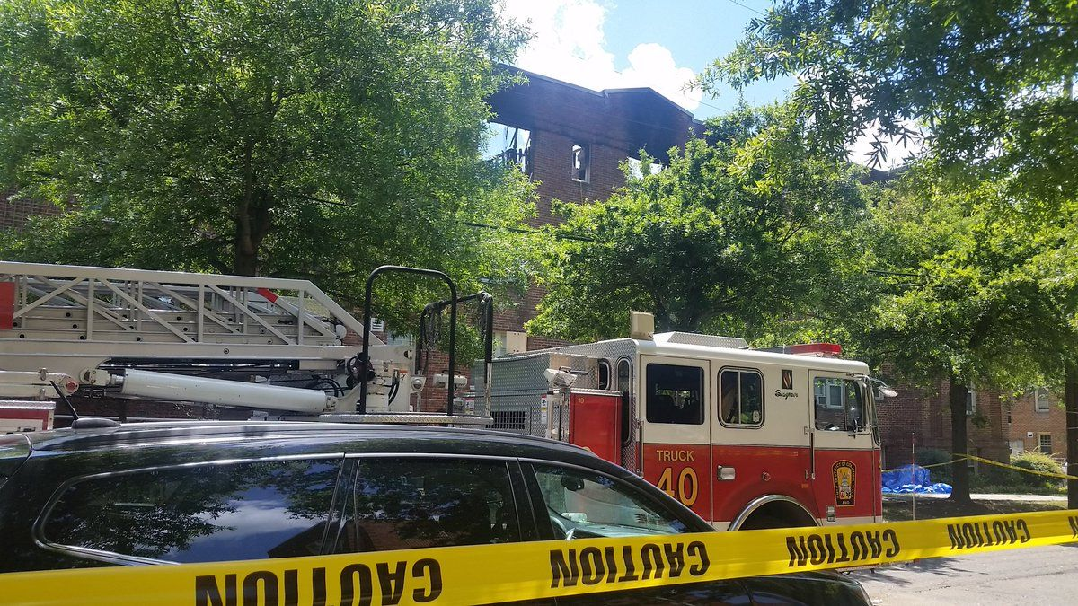 The cause of the fire has not yet been determined. Investigators were still assessing the damage. As of Sunday, the building was considered unsafe for its occupants. (WTOP/Kathy Stewart)