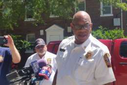 D.C. Fire Chief Gregory Dean said one person dies in Saturday's early morning fire at Rolling Terrace Apartments. in Northwest. (WTOP/Kathy Stewart)