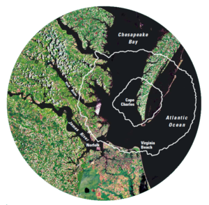 The outline of the 56-mile wide Chesapeake Bay Impact Crater is shown in white over a satellite photo of the region. (Courtesy United States Geological Survey)