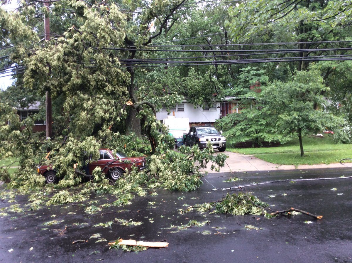 Cleanup crews at Dennis and Northwood avenues after the tornado on Monday, June 19, 2017. (Courtesy Pete Pringer)