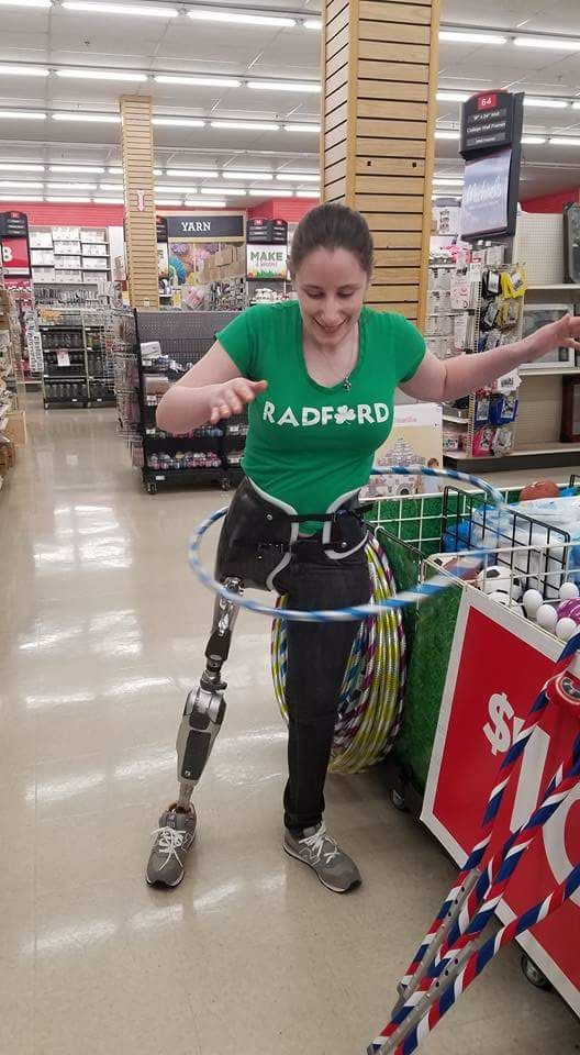 Katie is learning to walk again with a prosthetic leg.  She's getting lots of help at Walter Reed National Military Medical Center. (CourtesyKatie Feeney)