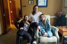 Katie Feeney (left) met fellow amputee and Boston Marathon bombing survivor Jessica Kensky (center) at Walter Reed National Military Medical Center, and they became fast friends. (CourtesyKatie Feeney)