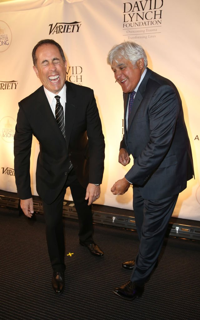WASHINGTON, DC - JUNE 05: Jerry Seinfeld (L) and Jay Leno attend the National Night Of Laughter And Song event hosted by David Lynch Foundation at the John F. Kennedy Center for the Performing Arts on June 5, 2017 in Washington, DC. (Photo by Tasos Katopodis/Getty Images for David Lynch Foundation)