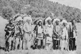 Sioux Indians, six of whom were present at the battle of Little Big Horn, where General George Custer and his soldiers were gathered for a reunion on Sept. 2, 1948 at Custer state park, in South Dakota's Black Hills. (AP Photo)