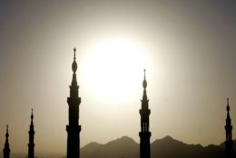 A view of the towers of the Prophet Mohammad's Mosque as the sunsets in Medina  in Saudi Arabia Wednesday Jan. 3, 2007. After taking part in the Hajj, Muslim pilgrims head to Medina to pray at the Prophet's mosque, Islam's second holiest place of worship, before returning home.(AP Photo/Khalil Hamra)