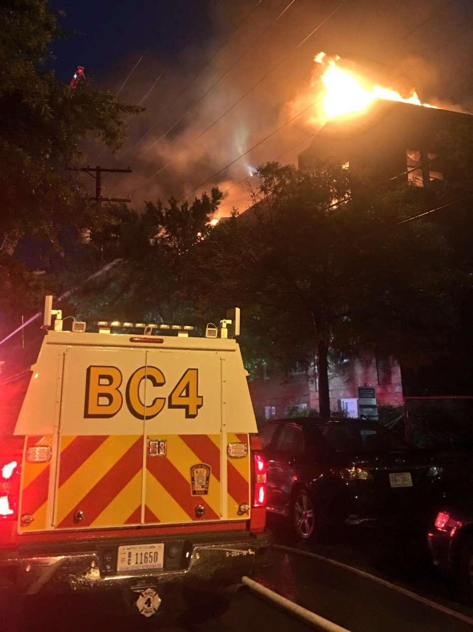 D.C. Fire says about 100 firefighters responded to the scene. (Courtesy D.C. Fire/Twitter)
