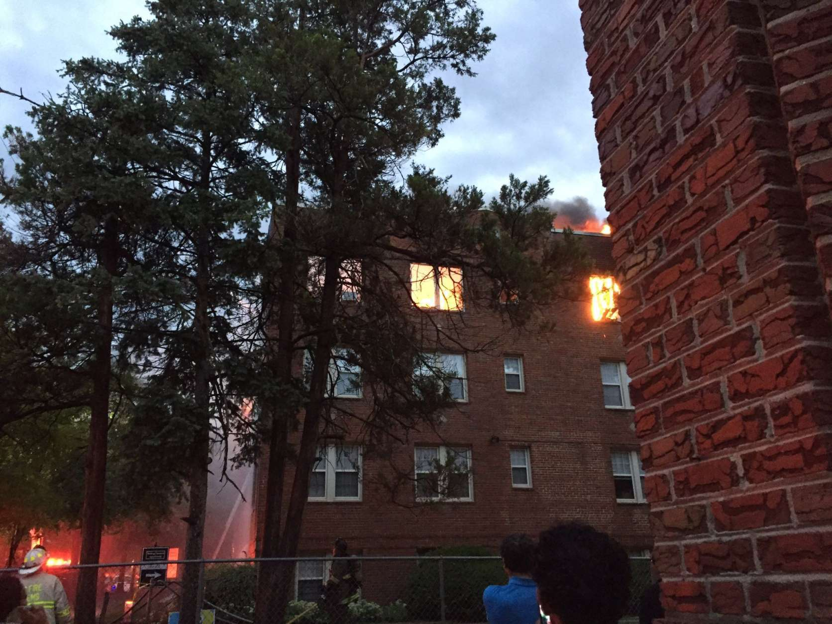 It took several hours to get the Rolling Terrace apartment fire under control. (WTOP/Dennis Foley)