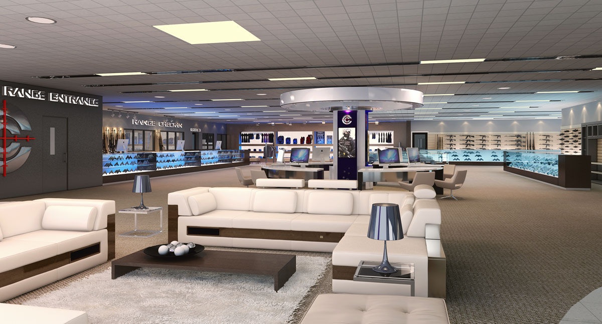 Renderings of the proposed Caliber Club in Loudoun County. Developers proposed a nearly 17,000-square-foot indoor facility complet with three ranges as well as a lounge and health club-like offerings. (Courtesy Caliber Shooting Club, Inc.)