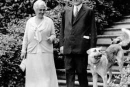 U.S. President Herbert Hoover, right, is shown with first lady Lou Henry Hoover and their dogs in Washington, D.C., on June 15, 1932, in the final year of his presidential term.  (AP Photo)