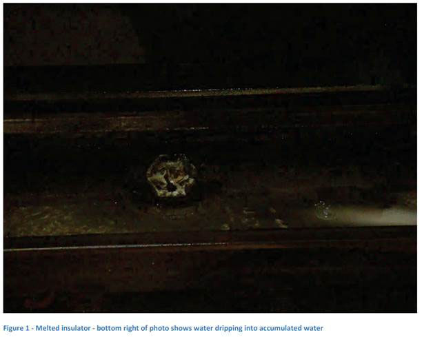 At Forest Glen, dripping water may be contributing to smoke and fire incidents. The insulator in this image has melted. (Courtesy FTA)