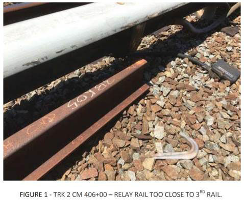 A used piece of rail sits too close to the electrified third rail between East Falls Church and Ballston.(Courtesy FTA)