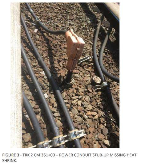A few seals are missing on cables between East Falls Church and Ballston that are meant to keep water and dirt out. There are also cables lying on the ground in the area. (Courtesy FTA)