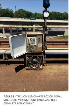 A call box and emergency trip station above the Capital Beltway between West Falls Church and Dunn Loring was falling apart May 18. It is one of several things in the area FTA inspectors directed Metro to fix. (Courtesy FTA)
