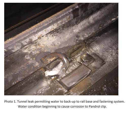 On the Red Line between Forest Glen and Silver Spring, tunnel leaks contribute to corrosion of this clip that holds the rail in place. (Courtesy FTA)