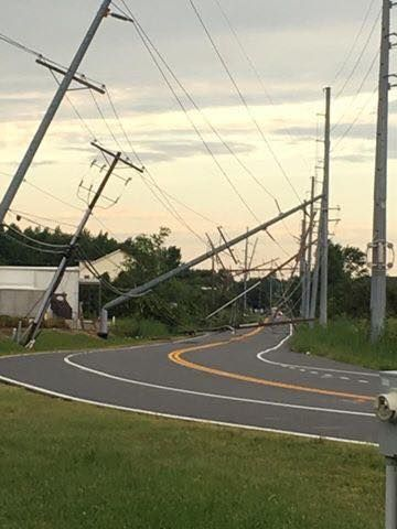 Downed power lines and trees in Prince Anne's County, Maryland, after Monday's storm. (Courtesy Angie Chambers Russe)